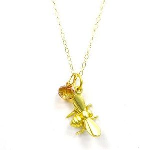 Lucky Bee W/Crystal Necklace,NWT
